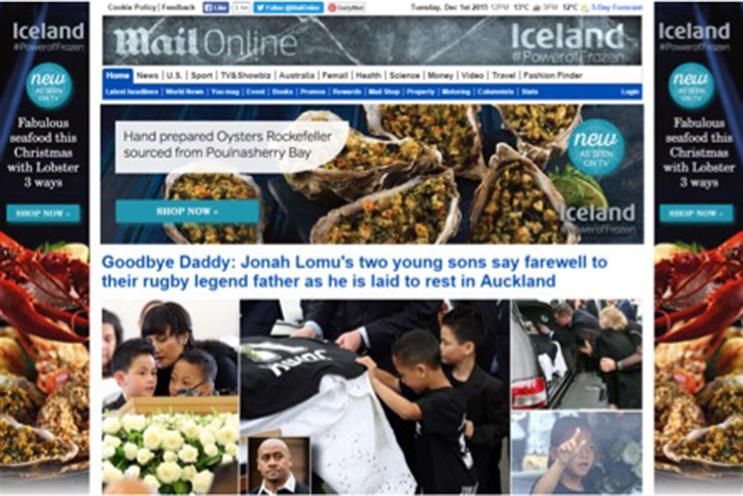 MailOnline: Iceland is the first brand to take over the news site's masthead