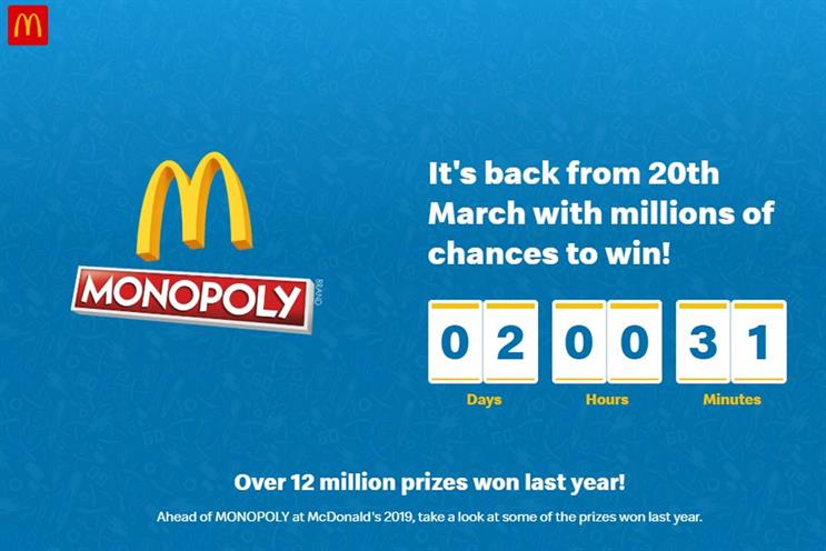 Monopoly at McDonald's: due to start on Wednesday