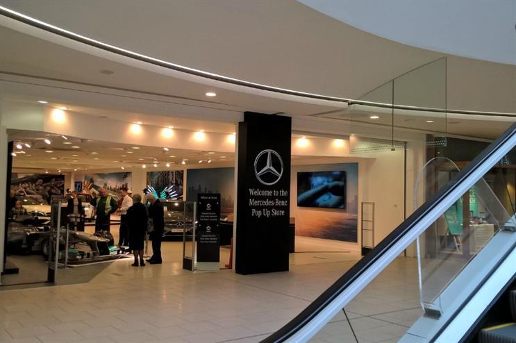 The pop-up showcases a range of Mercedes-Benz models