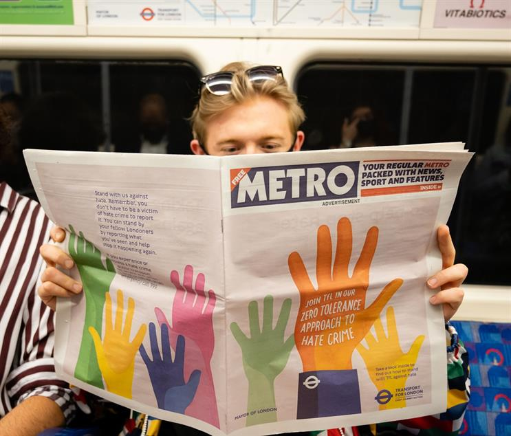 Metro cover wrap promoting the campaign went live on 14 June across London