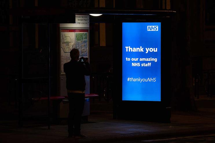Out-of-home: many sites posted messages of thanks to NHS on Thursday night