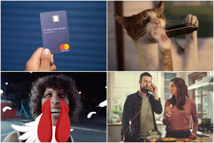 Clockwise from top left: Starling Bank, More Th>n, KP Snacks and KFC
