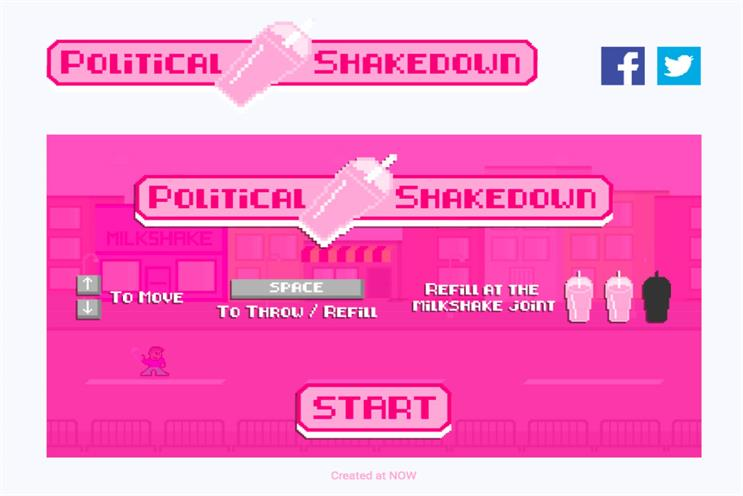 Political Shakedown: players can throw milkshake at those who spread hate