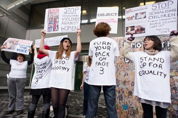 Protest: women demonstrate against The Sun's continued use of Page 3 and other titillating content