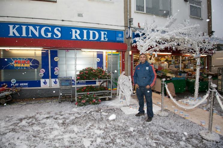 Pardip Kumar's store was transformed into a winter wonderland courtesy of Quaker Oats