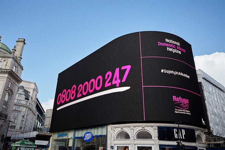 Refuge: helpline number will appear on Piccadilly Lights