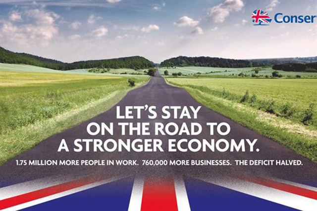 Conservative Party: poster was mocked for featuring a German road