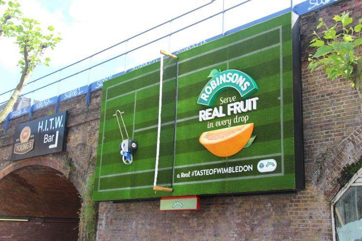 Anyone for tennis? Robinson's Wimbledon-themed billboard