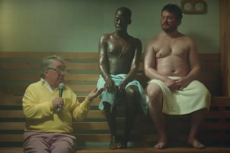 Corbett: fully dressed in a sauna in a 2013 ad for Tesco Mobile