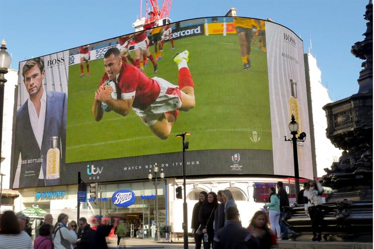 A media first: ITV took live highlights of every Rugby World Cup played in Japan to UK streets via Ocean's digital screens