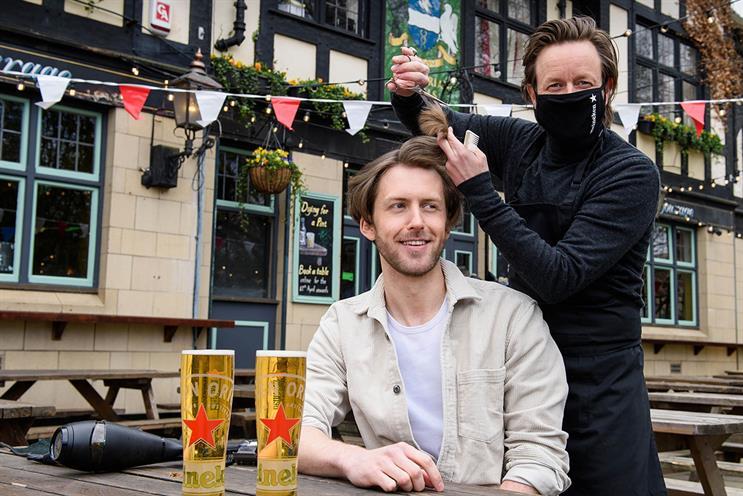 Heineken: celebrity hairstylist Michael Douglas cutting hair outside The Gregorian in Bermondsey