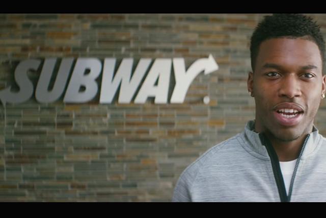 Subway: Liverpool striker Daniel Sturridge during a 'famous fan' ad