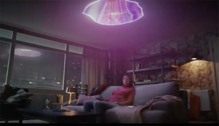 Three: fantastical ad featured a woman being beamed up from her sofa