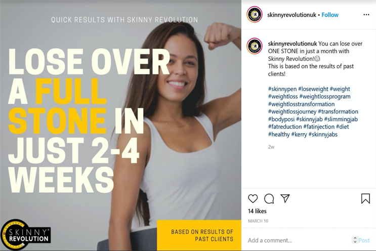 Skinny Revolution: ad censured in October 2020
