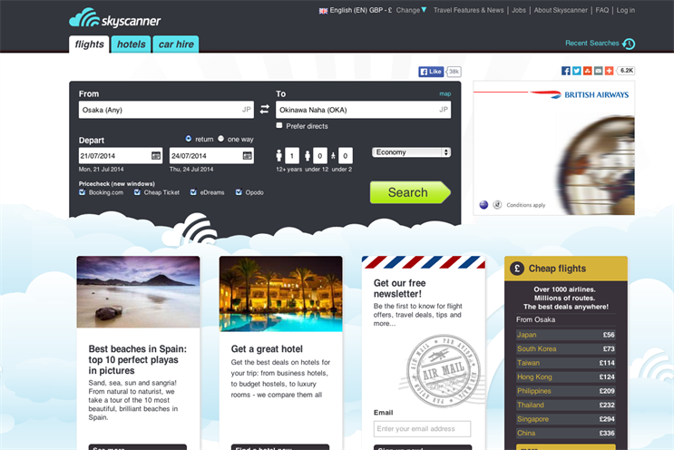 Skyscanner: handed media duties to SMG