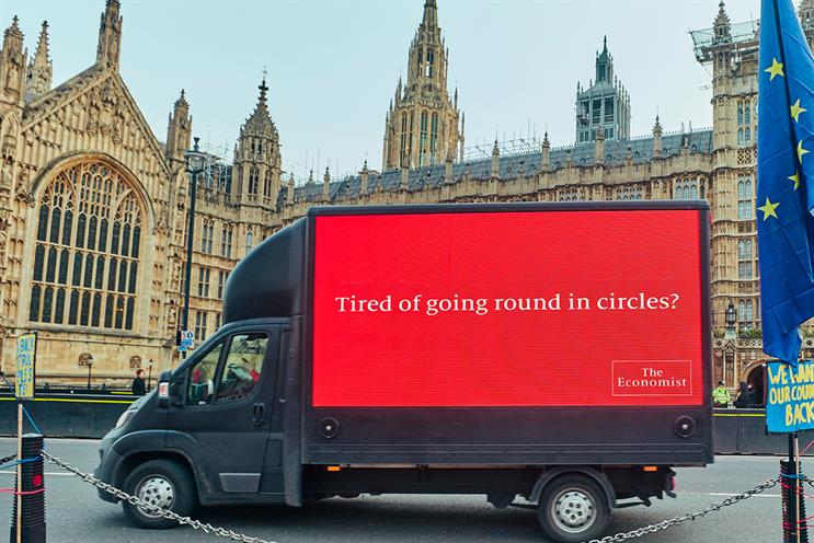 The Economist takes latest ad on laps of Parliament Square