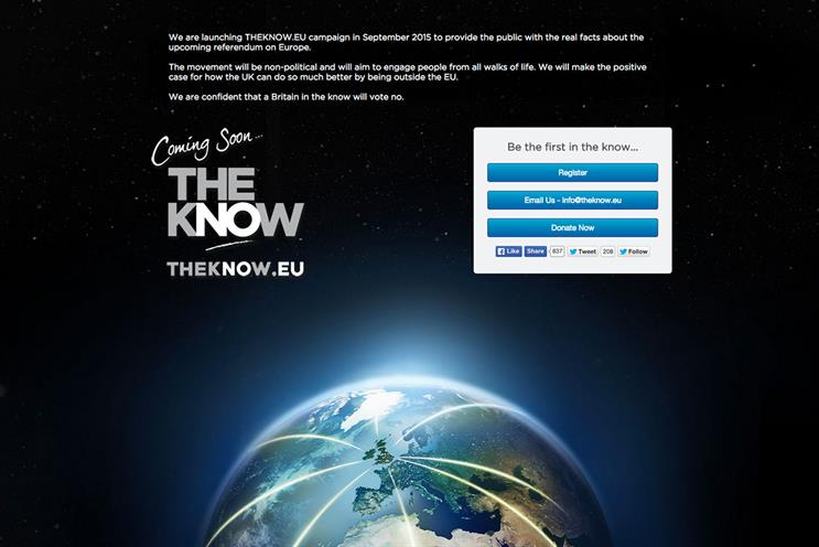 TheKnow.EU: promotes benefits of leaving the European Union