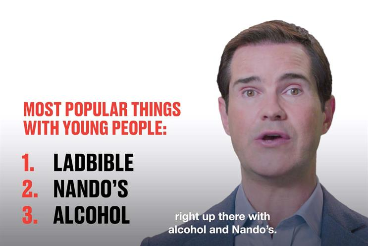 Jimmy Carr: tells it like it is in campaign for LadX