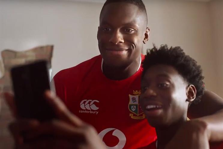 Vodafone: Lions squad member Maro Itoje makes an appearances