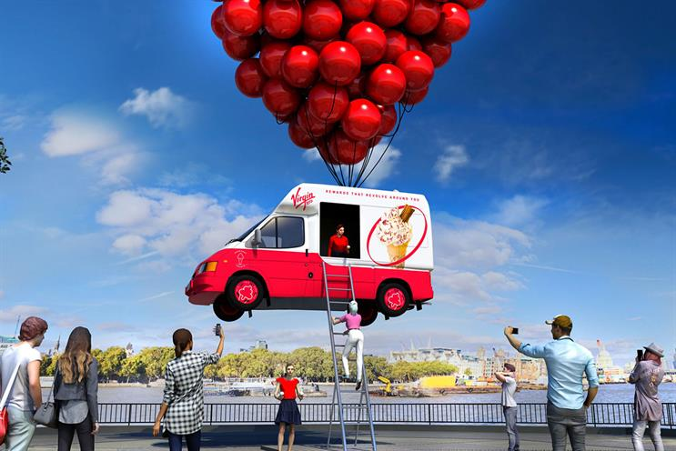 Virgin Red: consumers will be able to visit the ice-cream van held aloft by red balloons