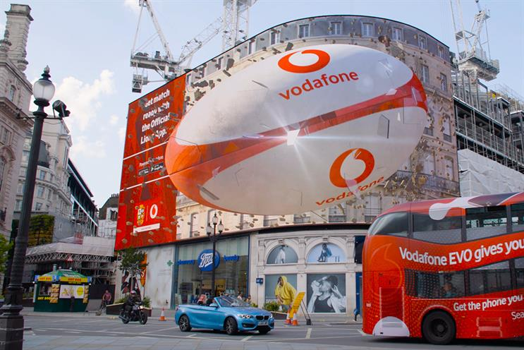 Vodafone: among brands to have used the 3D technology on Piccadilly Lights