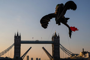 The large-scale dragon kite flew across London's skyline this morning