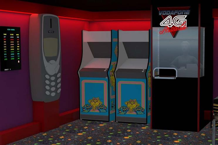 A visualisation of Vodafone's 4G arcade for its 30-years campaign