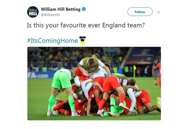 "William Hill has sponsored the Twitter hashtag ""#ItsComingHome"" as part of its World Cup campaign"
