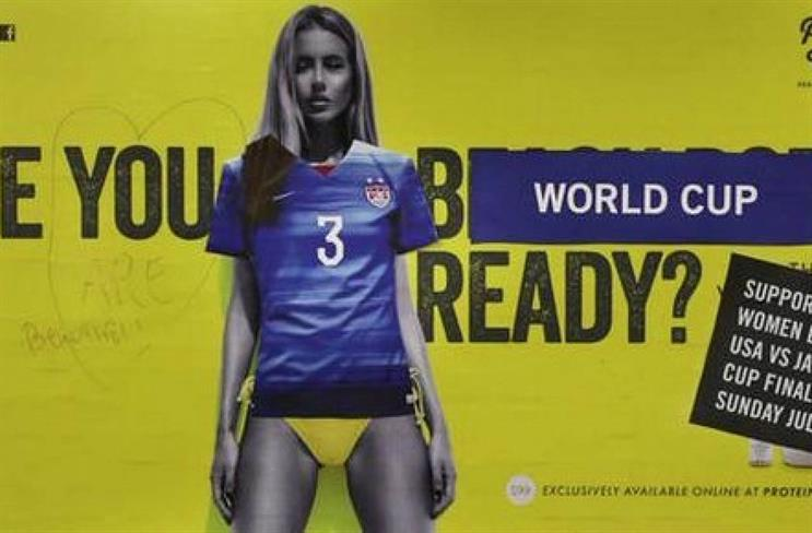 Protein World: The controversial ad was defaced in New York City's Union Square Station