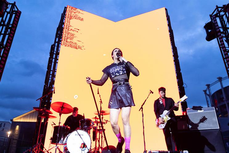 Samsung: Yungblud (pictured) performed outside Samsung KX