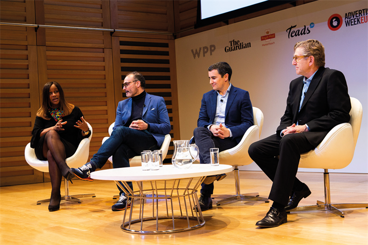 Karen Blackett OBE, chairwoman, MediaCom UK (far left) and Keith Weed, Unilever CMCO (far right) with fellow industry figures