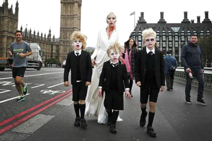 Creepy characters from American Horror Story walked through the city