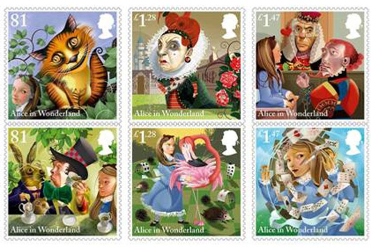 Alice in Wonderland stamps from the Royal Mail