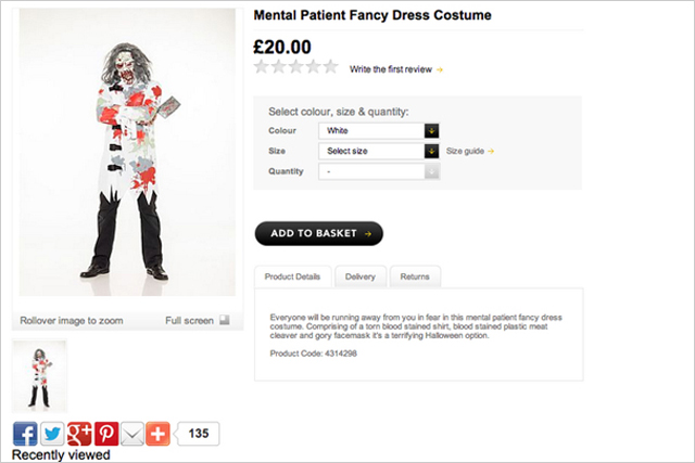 Asda: withdrew a 'mental patient fancy dress costume' that was available for sale on its website in 2013
