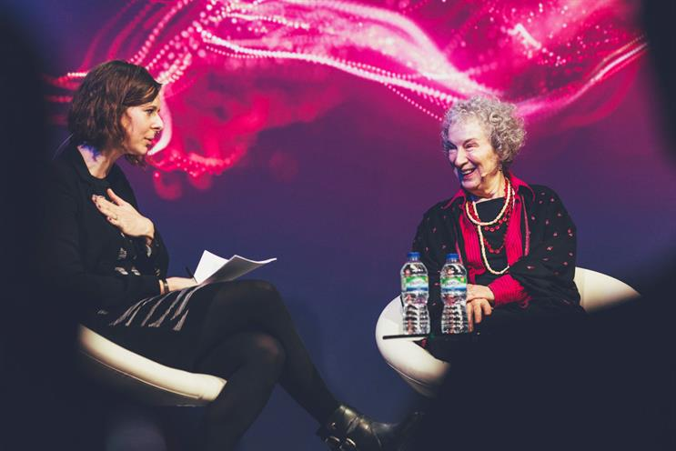 Atwood (right) on stage at New Scientist Live