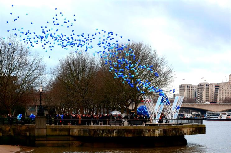 Hundreds of balloons were released in London this morning