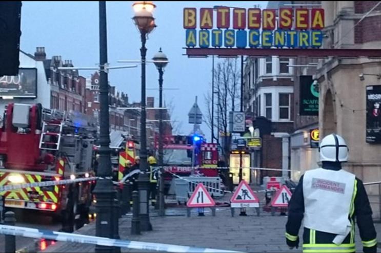 A fire began at the Grade II-listed venue in Battersea last Friday (@kjnorbury)