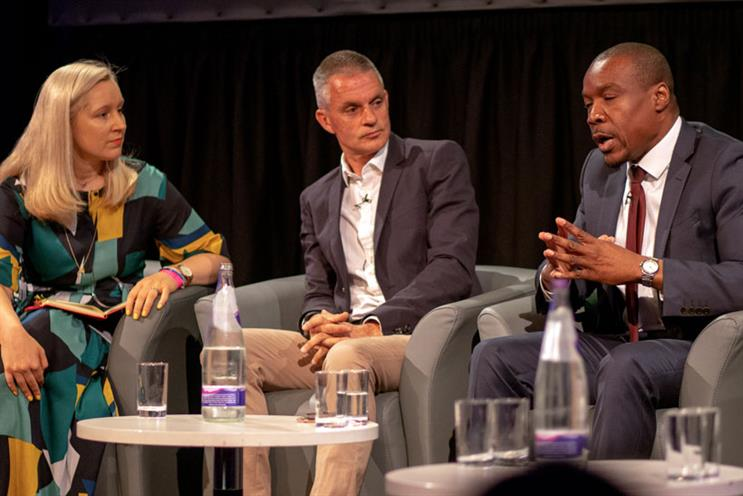 Panel (L-R): Nicola Kemp, Tim Davie, Tunde Ogungbesan