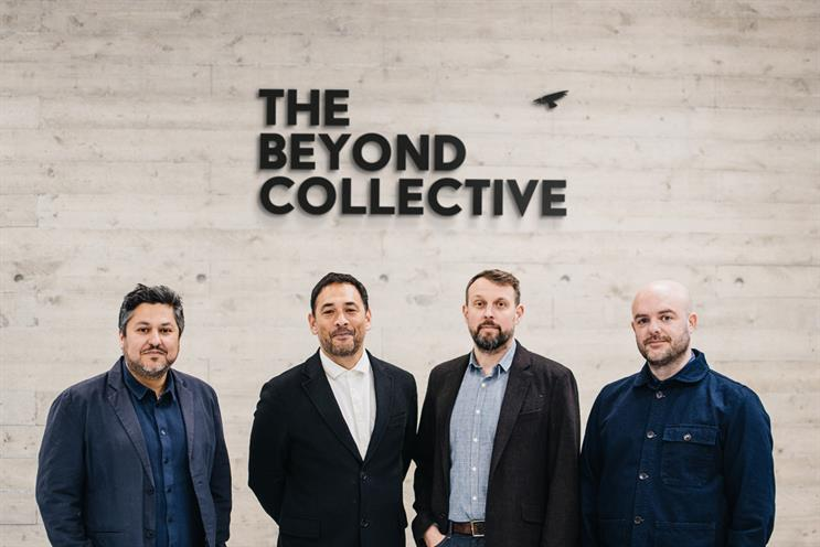 Above & Beyond founders (from left): Al-Zaidy; Christian Lobo, executive producer; Nic Ost, chief operating officer; and David Billing, executive creative director