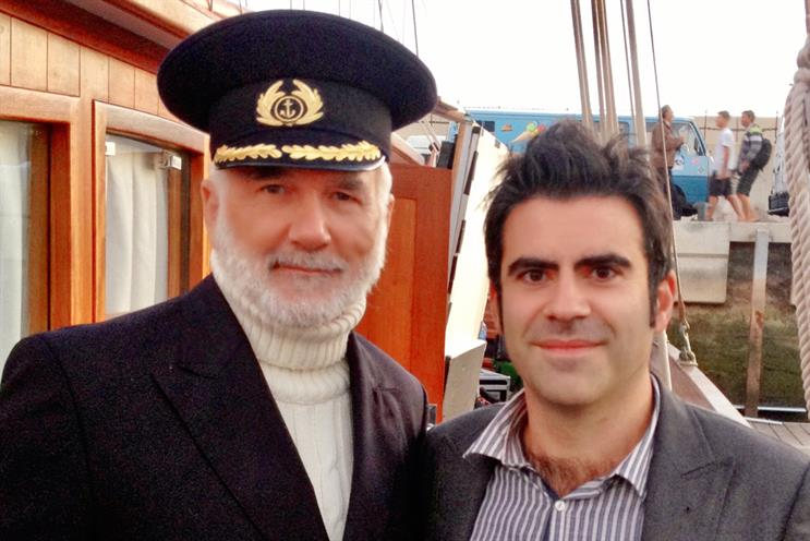 Birds Eye: Steve Challouma (right) with the brand's famous Captain character