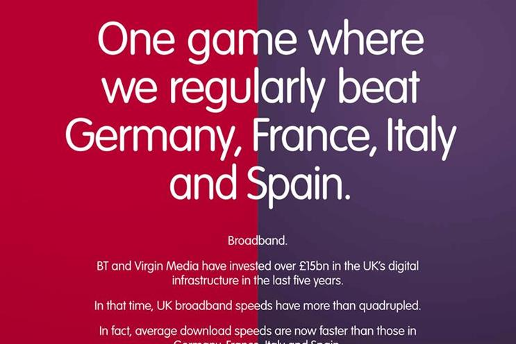 Virgin Media launched a joint ad with BT last week to promote broadband