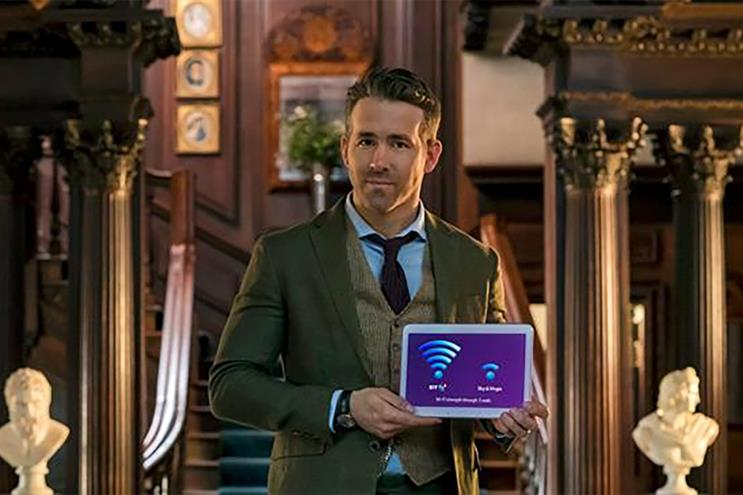 BT ad starring Ryan Reynolds: the telecom giant is the UK's third-biggest advertiser