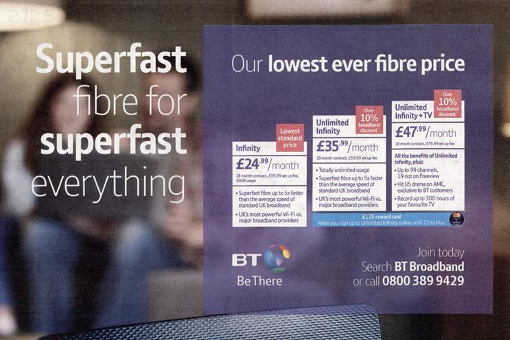 Banned: BT press ad appeared in August 2018