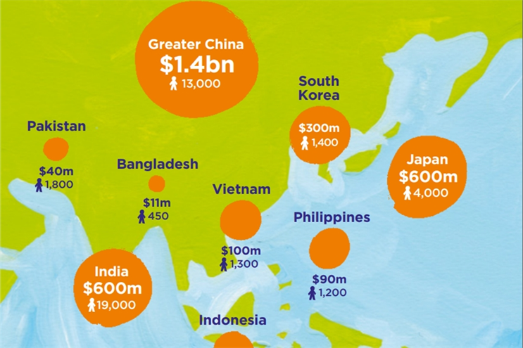 An image from WPP's 2017 annual report shows its revenue and employee numbers (including associated companies) across the region