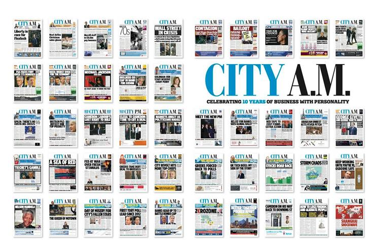 City AM: cover wrap celebrates the newspaper's 10th anniversary