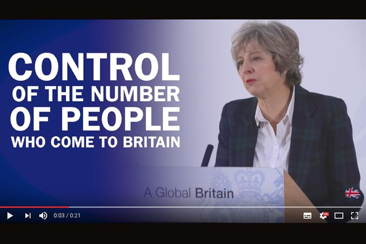 A Conservative Party YouTube ad during the 2017 General Election