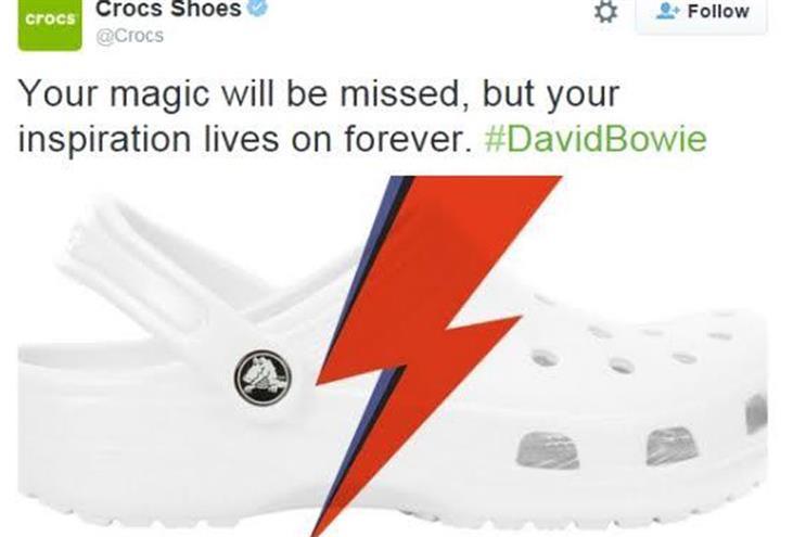 Crocs bows to critics, deletes David Bowie tribute tweet