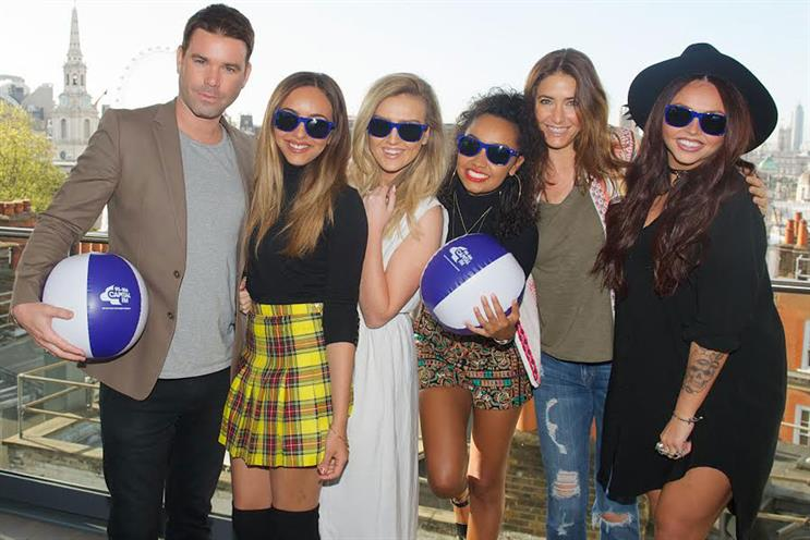 Capital FM: presenters Dave Berry and Lisa Snowdon (second from right) with pop group Little Mix