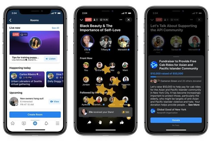 Facebook-provided screen shots of Live Audio Rooms in action