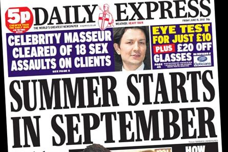 Daily Express: one of 13 national papers to see double-digit fall year-on-year